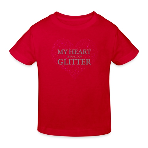 Glitzer Herz - Kinder Bio-T-Shirt