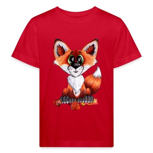llwynogyn - a little red fox - Lasten luonnonmukainen t-paita