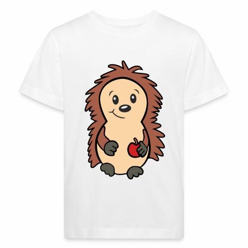 Igel mit Apfel in der Hand - Kinder Bio-T-Shirt