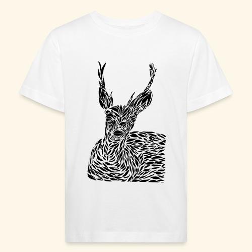 deer black and white - Lasten luonnonmukainen t-paita