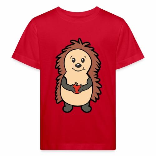 Igel mit Apfel in den Händen - Kinder Bio-T-Shirt