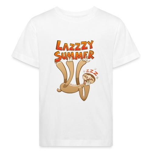 Sleepy sloth yawning and enjoying a lazy summer - Kids' Organic T-Shirt