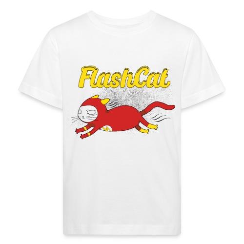 FlashCat Vintage Comic Katze Superheld - Kinder Bio-T-Shirt