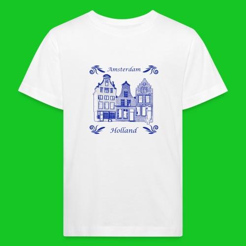 Holland Grachtenpanden Delfts Blauw - Kinderen Bio-T-shirt