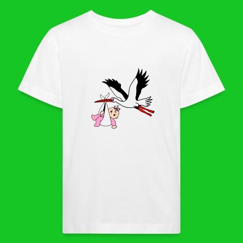 Ooievaar met baby meisje - Kinderen Bio-T-shirt
