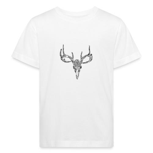 Deer skull with rose - Lasten luonnonmukainen t-paita