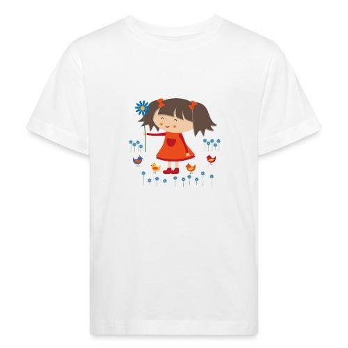 Happy Meitlis - Vögel und Blumen - Kinder Bio-T-Shirt