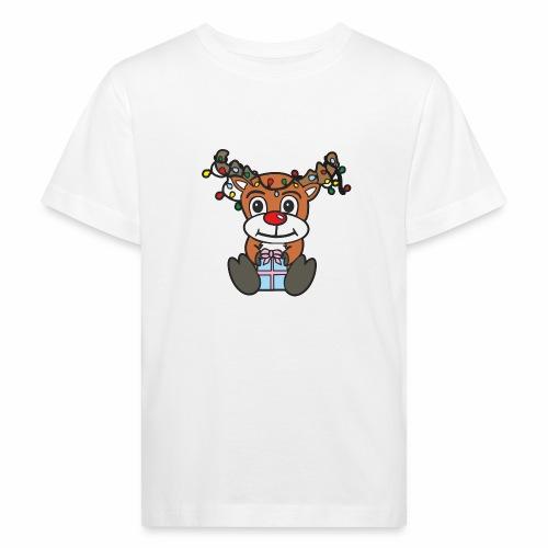Rentier mit Lichterkette - Kinder Bio-T-Shirt