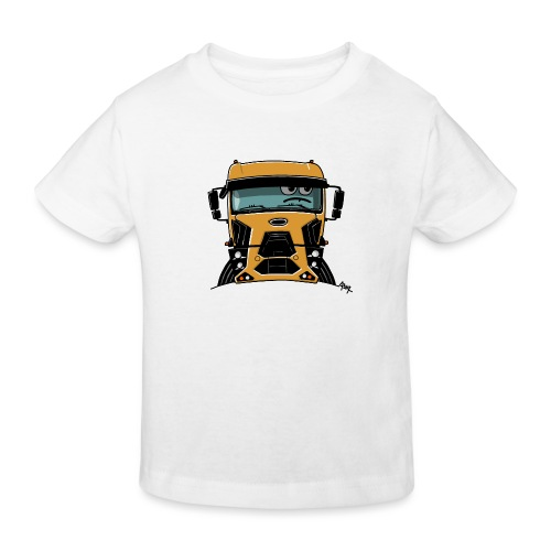 0812 F truck geel - Kinderen Bio-T-shirt