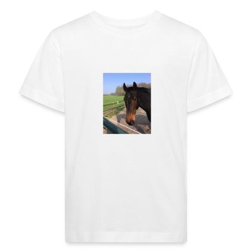 Met bruin paard bedrukt - Kinderen Bio-T-shirt