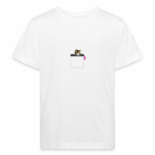 Kätzchen in Brusttasche - Kinder Bio-T-Shirt