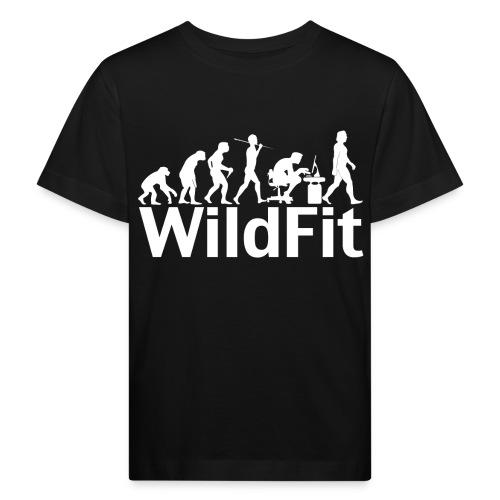WildFit Logo Evolution Weiß - Kinder Bio-T-Shirt