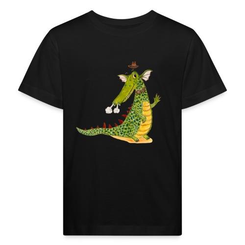 Drachenkrokodil mit weißem Logo - KlingBim - Kinder Bio-T-Shirt