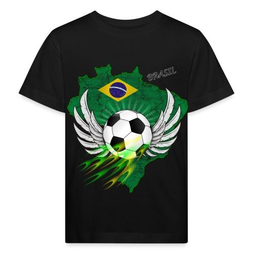 Fußball mit Brasilien Flage - Kinder Bio-T-Shirt