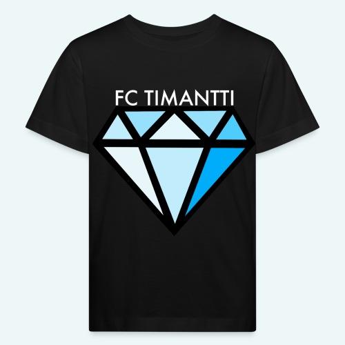 FCTimantti logo valkteksti futura - Lasten luonnonmukainen t-paita