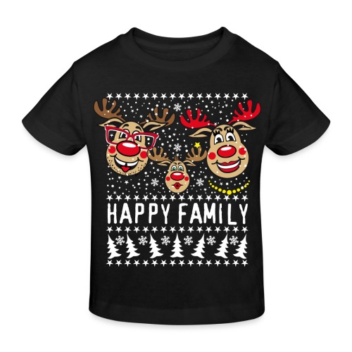 94 Hirsch Rudolph HAPPY FAMILY Papa Mama Kind - Kinder Bio-T-Shirt