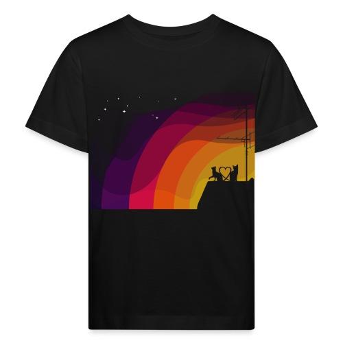 Couple de chats sur coucher de soleil, love - T-shirt bio Enfant