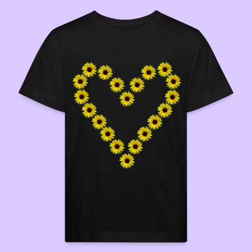 Sonnenblumenherz, Sonnenblumen, Sonnenblume, Herz - Kinder Bio-T-Shirt