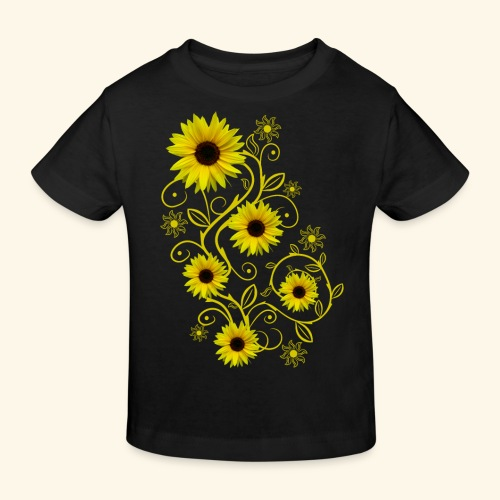 gelbe Sonnenblumen, Ornamente, Sonnenblume, Blumen - Kinder Bio-T-Shirt