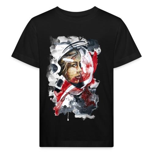 Kosmonaut Portrait Frau by carographic - Kinder Bio-T-Shirt