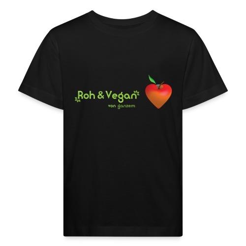 Roh & Vegan rotes Apfelherz (Rohkost) - Kinder Bio-T-Shirt