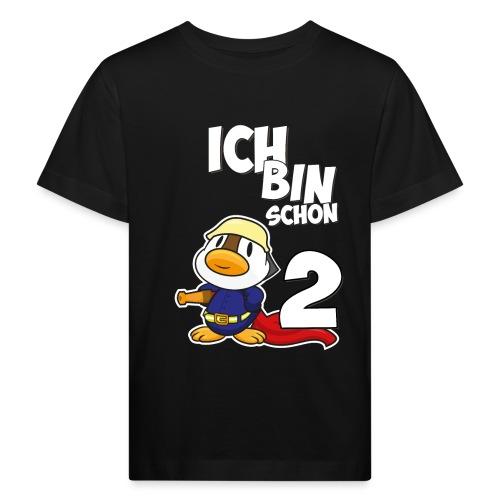 Stolze Feuerwehr Ente 2. Geburtstag Jungen Mädchen - Kinder Bio-T-Shirt