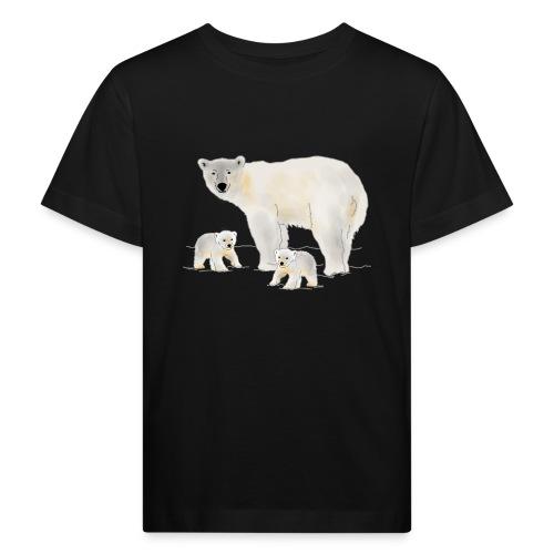 Eisbär mit zwei Jungen - Kinder Bio-T-Shirt