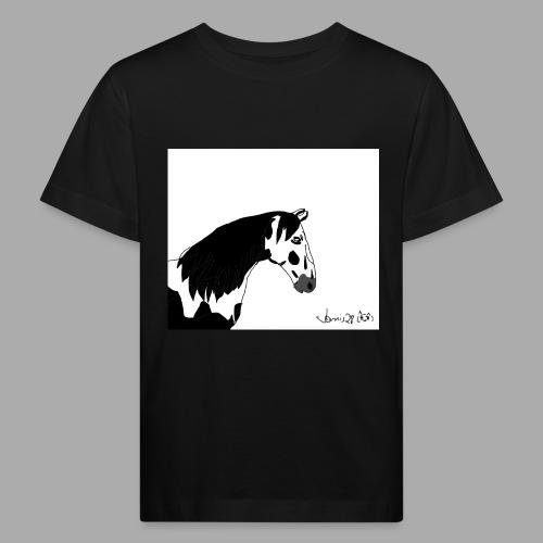 Pferdekopf mit Unterschrift - Kinder Bio-T-Shirt