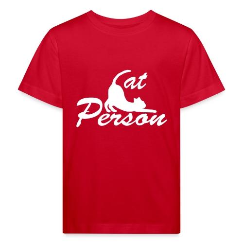 cat person - weiss auf schwarz - Kinder Bio-T-Shirt