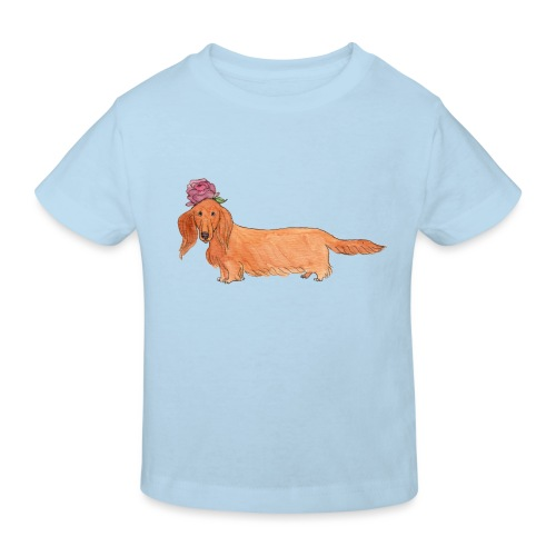 dachshund with flower - Organic børne shirt
