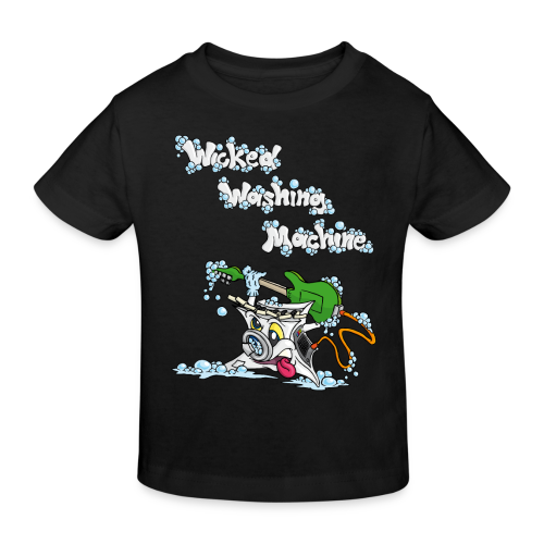 Wicked Washing Machine Cartoon and Logo - Kinderen Bio-T-shirt