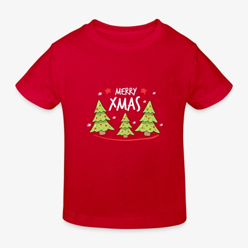 Fir trees and Merry Xmas - Kids' Organic T-Shirt
