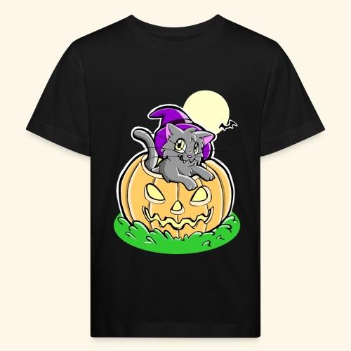 kürbiskatze.PNG - Kinder Bio-T-Shirt