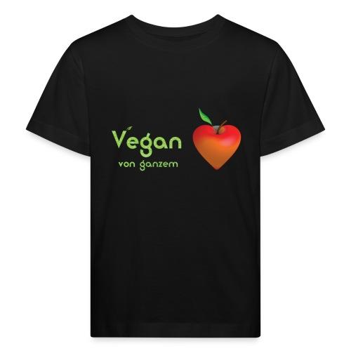 Vegan von ganzem Herzen (rot) - Kinder Bio-T-Shirt