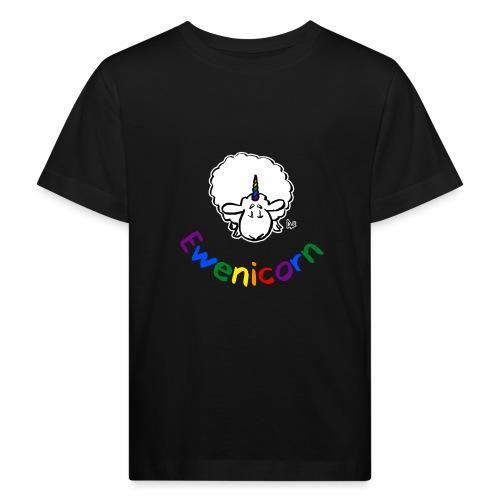 Ewenicorn (schwarze Ausgabe Regenbogentext) - Kinder Bio-T-Shirt