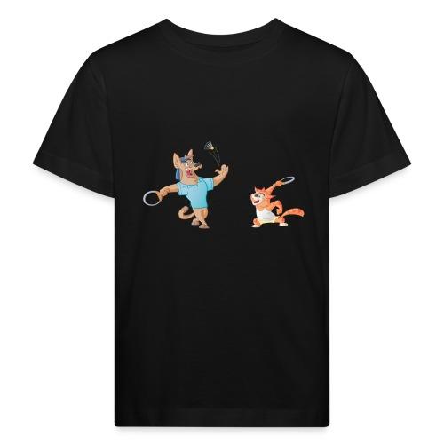 Hund und Katz Federball - Kinder Bio-T-Shirt