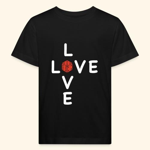 LOVE Cross white wuerfel red 001 - Kinder Bio-T-Shirt