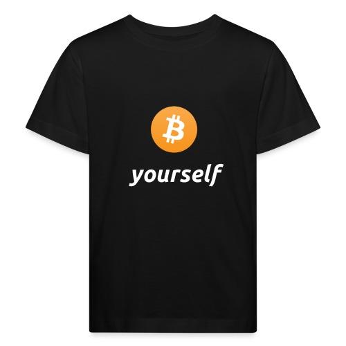 cryptocool b yourself white font -bitcoin logo - Kinderen Bio-T-shirt