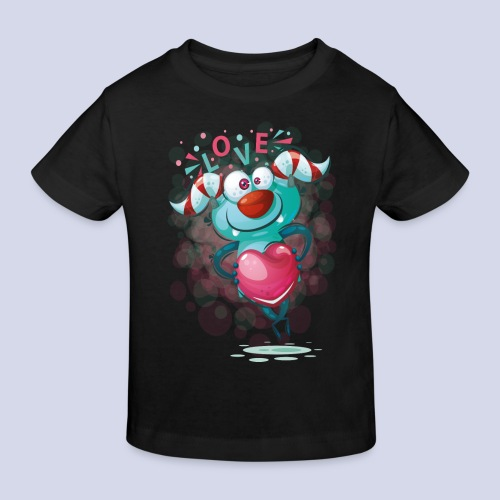 Monster cartoon love design - Kids' Organic T-Shirt