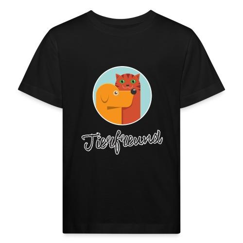 Tierfreund mit Schriftzug - Kinder Bio-T-Shirt