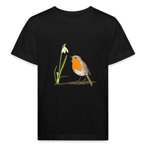 Frühling, Rotkehlchen, Schneeglöckchen - Kinder Bio-T-Shirt