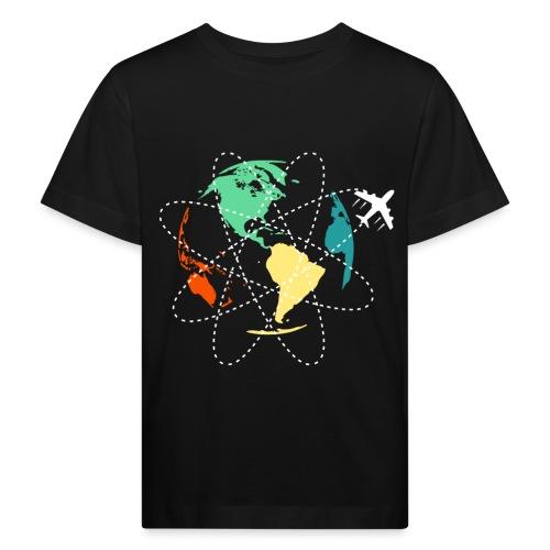 Reisen Weltreise Flugzeug Travelshirt Erde - Kinder Bio-T-Shirt