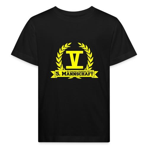 V mit College-Schriftzug - Gelb - Kinder Bio-T-Shirt