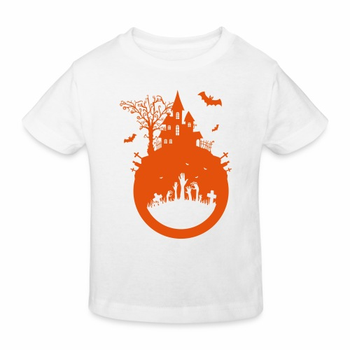 Halloween Design - Das Spukhaus - Kinder Bio-T-Shirt