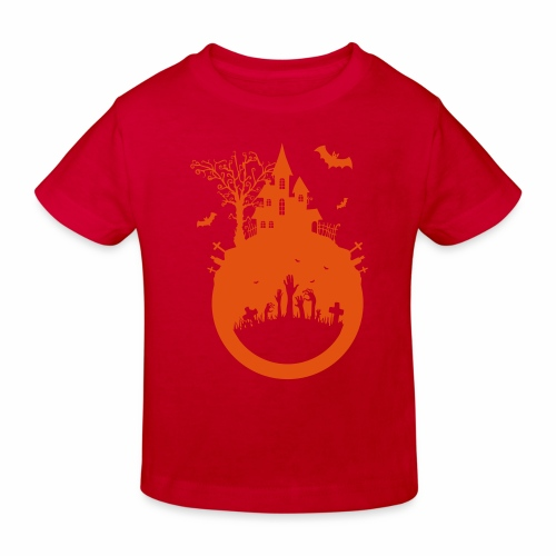 Halloween Design - Das Spukhaus - Kinder Bio-T-Shirt