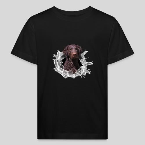 Curly Coated Liver im Glasloch - Kinder Bio-T-Shirt