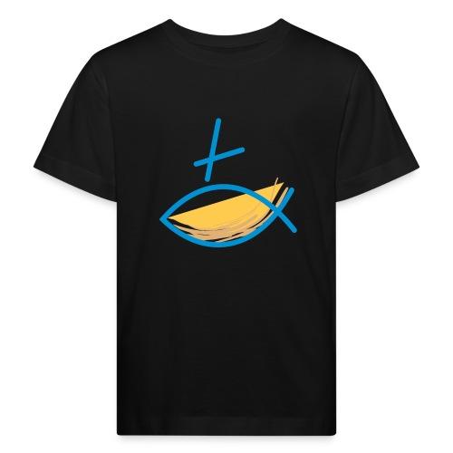 Altkatholischer Logo Fisch Blau/Gelb - Kinder Bio-T-Shirt