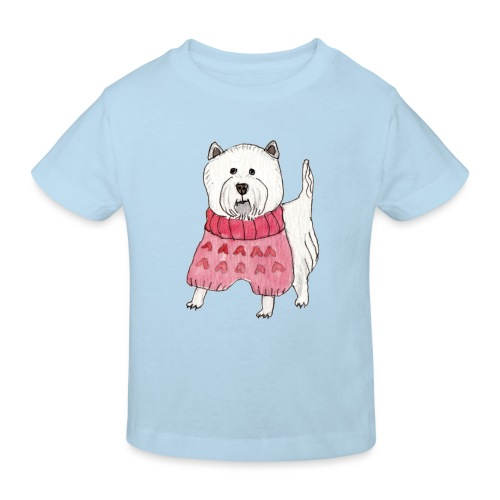 westie with sweater - Organic børne shirt
