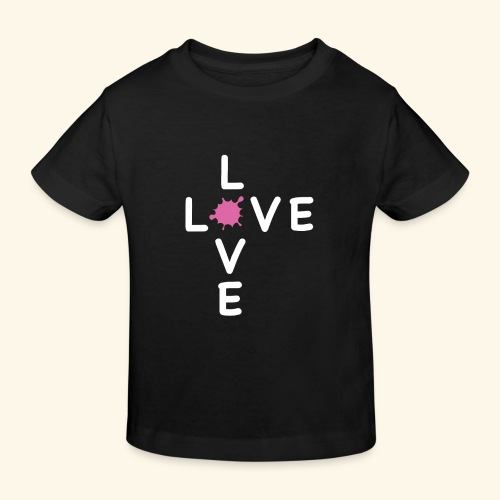 LOVE Cross white klecks pink 001 - Kinder Bio-T-Shirt