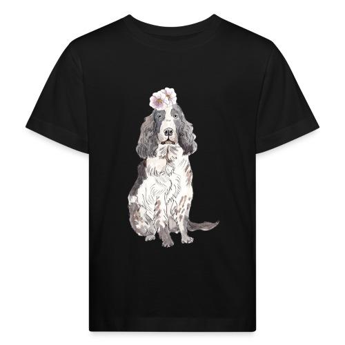 English cocker spaniel with flower - Organic børne shirt